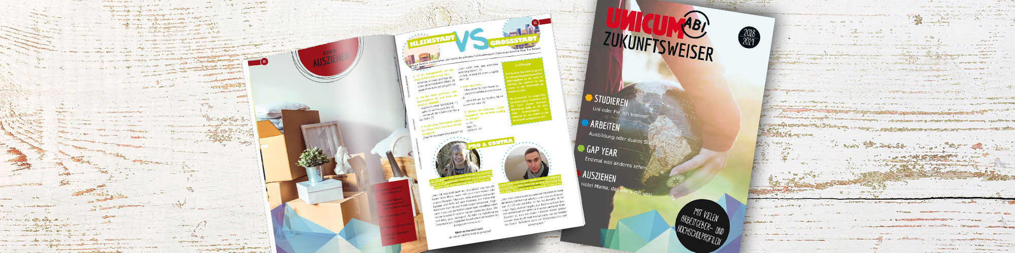 Das Cover und der Innenteil des UNICUM ABI Zukunftsweisers