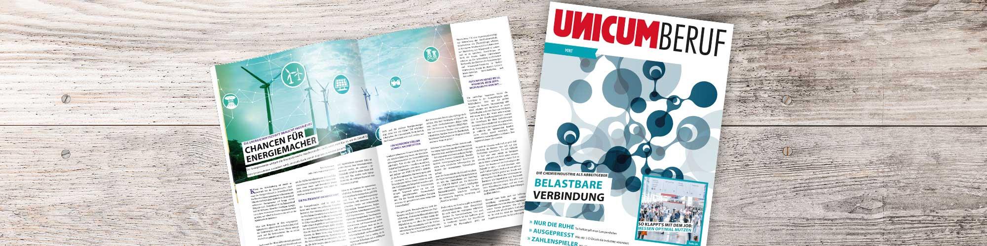 Das Cover und der Innenteil der UNICUM BERUF