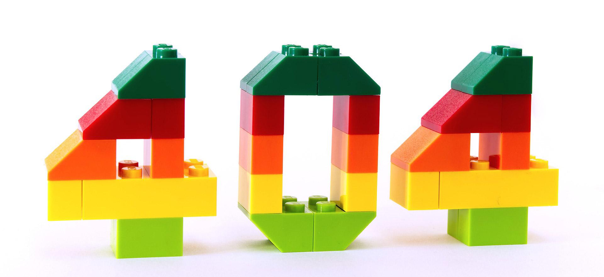 Die Zahl 404 in Form von Legosteinen